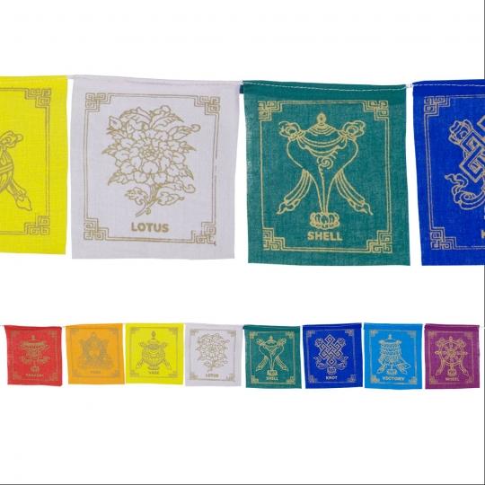 Tibetan Prayer Flag 8 Flaps 8 Auspicious Symbols (each)
