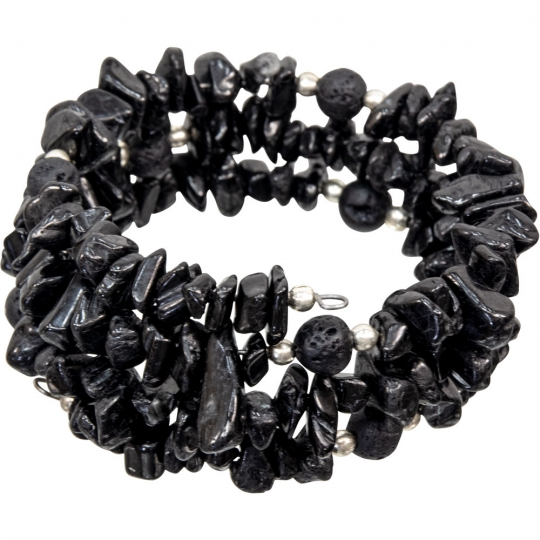 Wrap Around Chips Bracelet W Lava Beads Black Tourmaline Each