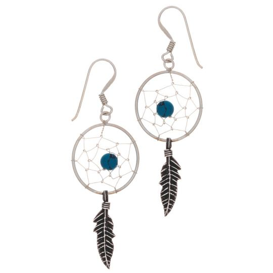 0feaca0e4 Dreamcatcher Earrings w/ Color Beads-1 Feather Large (Not Native American  Made): Kheops International