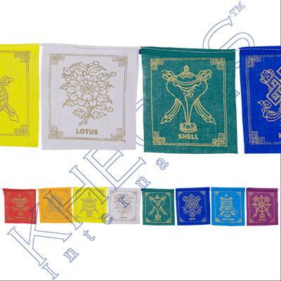 Tibetan Prayer Flag 8 Flaps 8 Auspicious Symbols Each Kheops