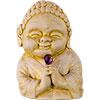 Gypsum Cement FIGURINE w/Faceted Amethyst Healing Buddha  (Each)