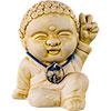 Gypsum Cement Figurine w/Peace SIGN Buddha (Each)