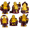 Polyresin Feng Shui FIGURINE 2-inch Buddha Gold & Red (Set of 6)