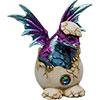 (DISC)Hatching Purple/Aqua Dragon FIGURINE w/Gem (Each)