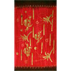 (DISC)Rayon Sarong  Gold PAINT Turtle Red (each)