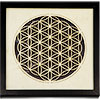 (DISC)Wooden Black FRAME LED Lights - Flower of Life - AAA battery (not included) (Each)