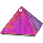 Glass Pyramid Box Plain Red Irridescent