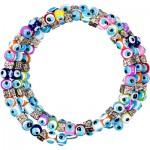 Glass Bead Evil Eye Elastic Bracelet