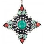 Turquoise & Coral Pendant