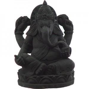 Volcanic Stone Statue Ganesha Black